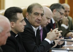 Members of the Syrian delegation, led by the Secretary General of the National Committee for the Unity of Syrian Communists Qadri Jamil, attend a meeting with Russia's special envoy to Africa Margelov in Moscow