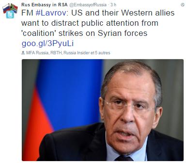 SYRIA - VISUAL lavrov coalition strikes (2016 09 27) ENGL