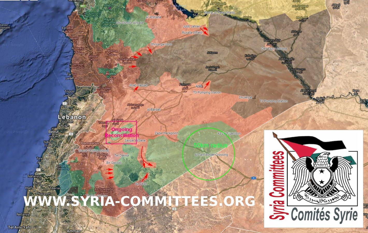 Carte Syrie 13 juillet 2017