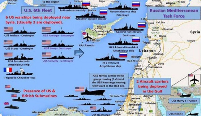 بالصور: إنتشار بوارج ومدمرات اميركا وروسيا بالبحر المتوسط