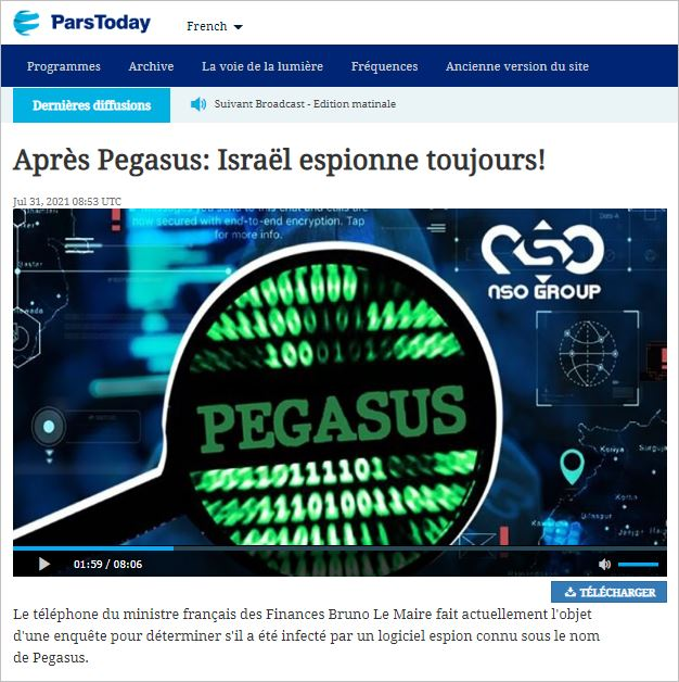 LM-PTV-2021 - 051 israel espionne PODCAST (pars today 2021 07 31)